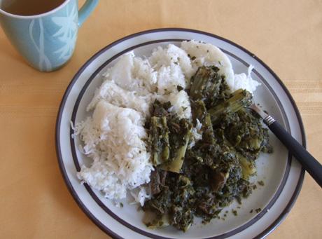 シンプルイラン料理 今日のランチは、昨日、ルームメートにもらったシンプルなイラン料理。牛肉と..